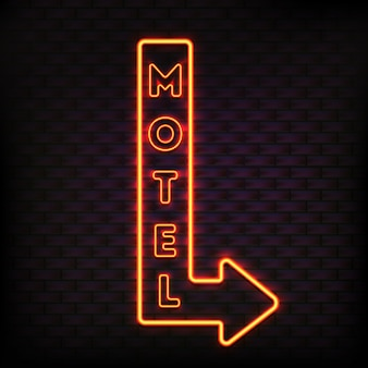 Neon sign set with flashing motel arrow board luminous button and orange light electric letters vector illustration