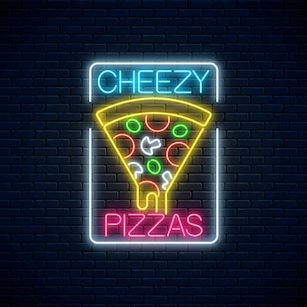 Neon sign of slice of pizza with dripping cheese. piece of italian pizza with tomatos and cheese.