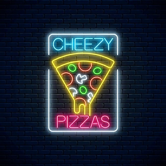 Neon sign of slice of pizza with dripping cheese.