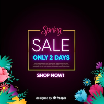 Neon sign spring sale background