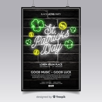 Neon sign st patrick's party poster