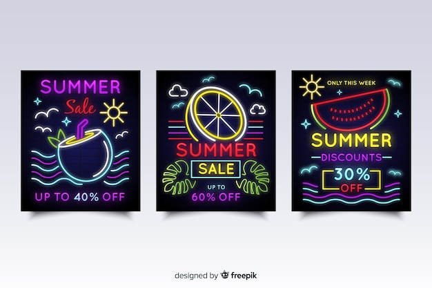 Neon sign summer sale banner pack