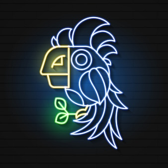 Neon sign of summer tropical parrot elements