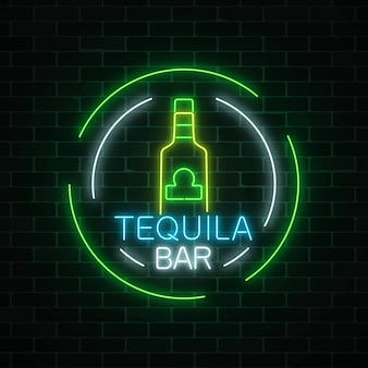 Neon sign of tequila bar in circle frames. mexican alcohol drink pub emblem in neon style.