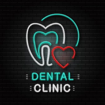 Neon sign of tooth for decoration on the wall background. realistic neon logo for dental clinic. concept of healthcare, dentist profession and medicine.