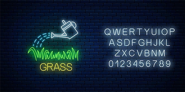 Neon sign of watering can and plot of grass with alphabet on dark brick wall