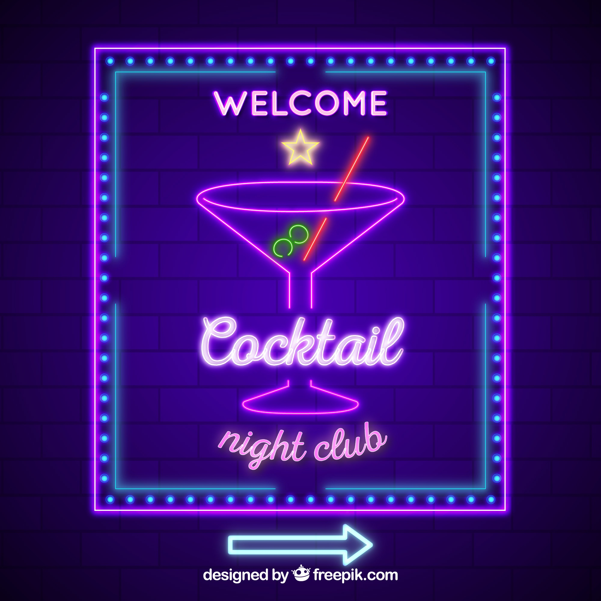 Neon sign with cocktail shape