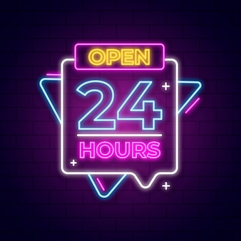 Neon sign  with open 24 hours