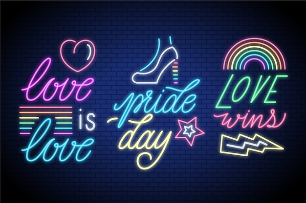 Neon sign with pride day collection