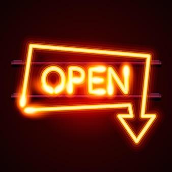 テキストの開いた矢印の付いたネオンサイン、入り口が利用可能です。ベクトルイラスト