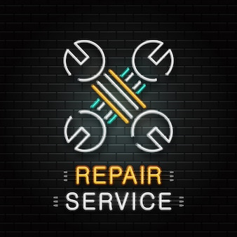 Neon sign of wrench tools for decoration on the wall background. realistic neon logo for repair service. concept of mechanic fix and car repair.