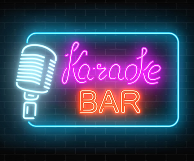 Neon signboard of karaoke music bar. glowing street sign of a nightclub with live music. sound cafe icon.