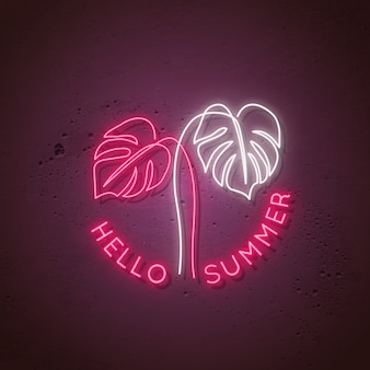 Neon signboard with monstera leaves and text hello summer.