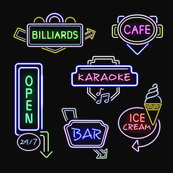 Neon signboards realistic night collection