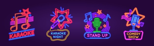 Neon signs for karaoke club and stand up comedy show. music and song singing party night glowing logos. karaoke bar event poster vector set