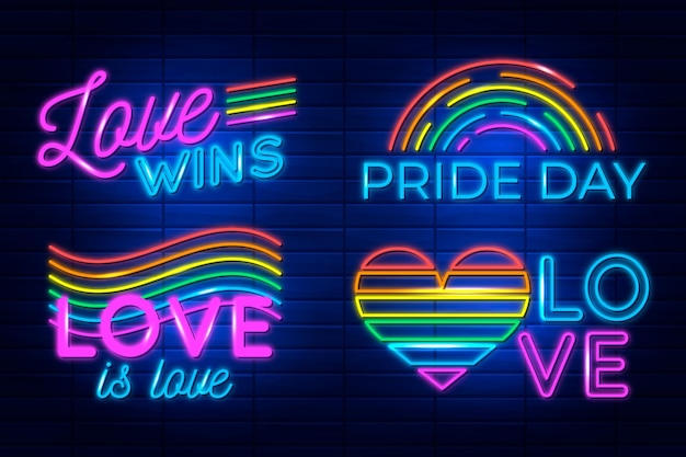Neon signs for pride day event pack