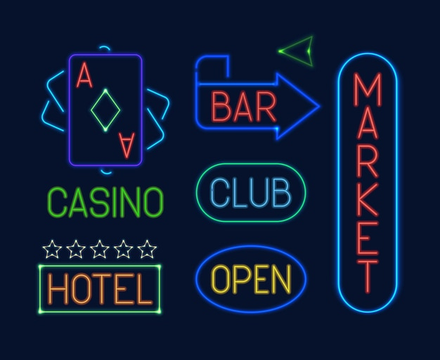 Neon signs set. colorful neon electric pointers glowing letter club blue casino deck cards green market bar red hotel orange advertising