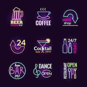 Neon signs set