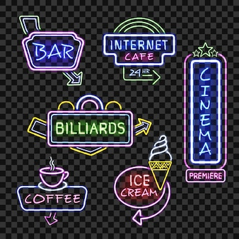 Neon signs on transparent