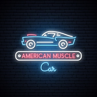Neon silhouette of classic american muscle car.