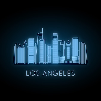 Neon silhouette of los angeles city.