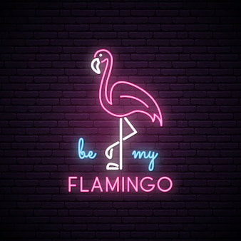 Neon silhouette of pink flamingo.