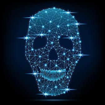 Neon skull on a dark background. vector illustration.