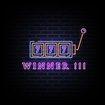 Neon slot machine coins win the jackpot