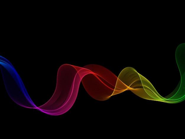 Неоновая гладкая яркая радуга волны на черном фоне.