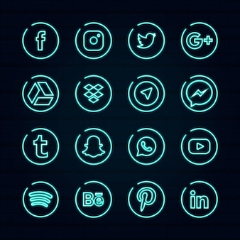 Neon social media logo template