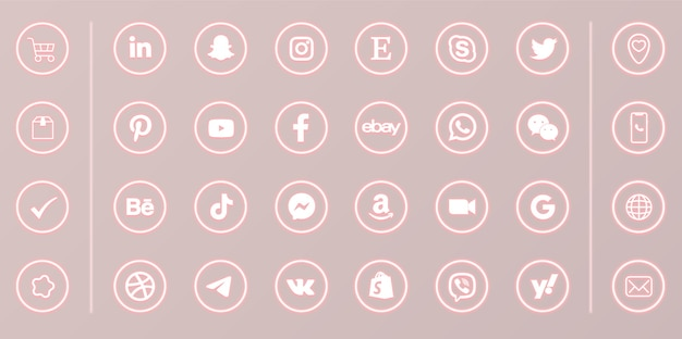 Neon social media round glowing icons set on pink background