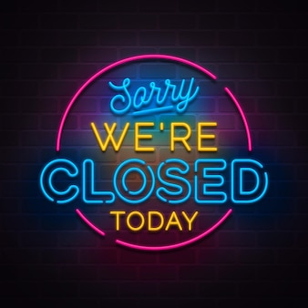 Neon sorry, we're closed sign Free Vector