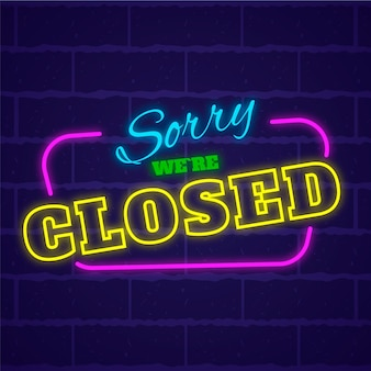 Neon sorry, we're closed sign Premium Vector