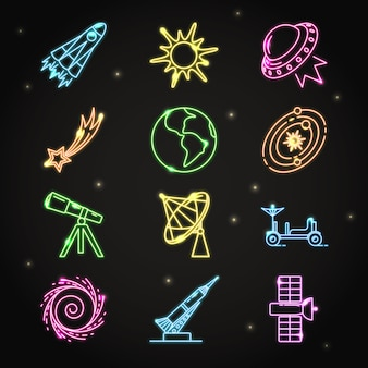 Neon space icons collection