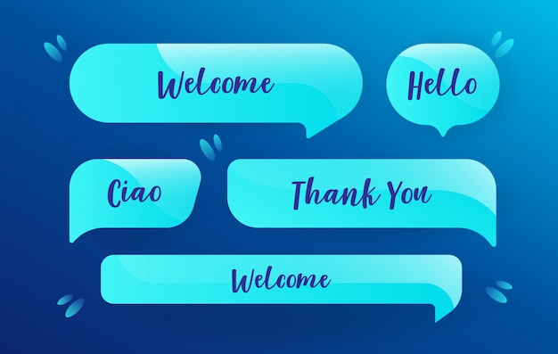 Neon speech bubbles set in blue design with messages