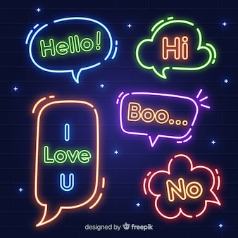 Neon speech bubbles with expressions