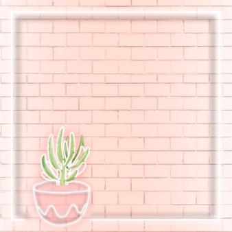 Pubblicità social con cornice quadrata al neon per cactus