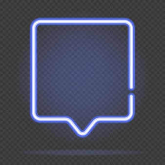 Neon square chat speech bubble shape. vector illustration. bright trendy figures for text or inscription. neon light banner.