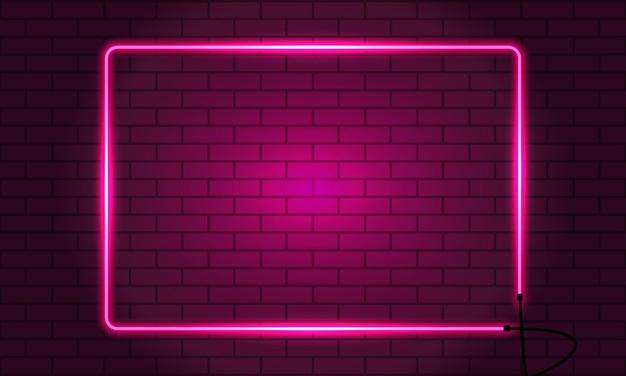 レンガの壁にネオンの四角いフレーム。
