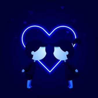 Neon st. valentine's day card
