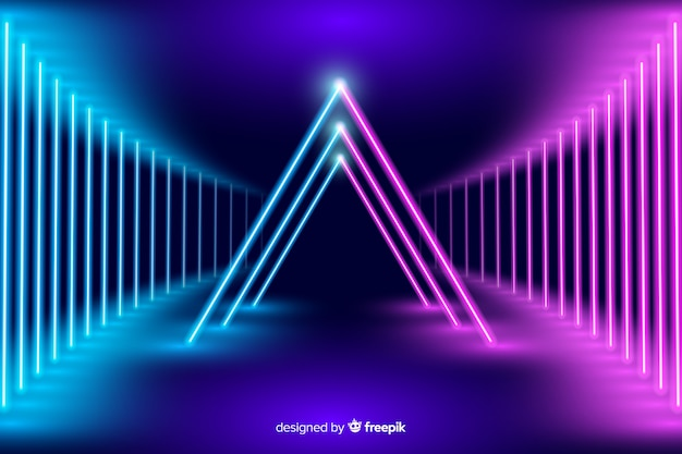 Neon stage lights background