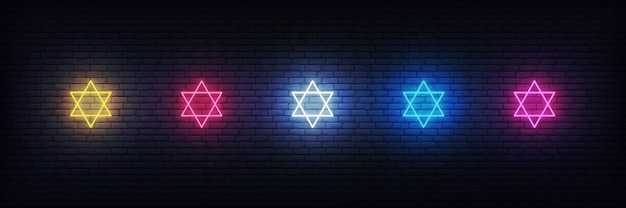 Neon stars of david set, jewish sign decorations for hanukkah