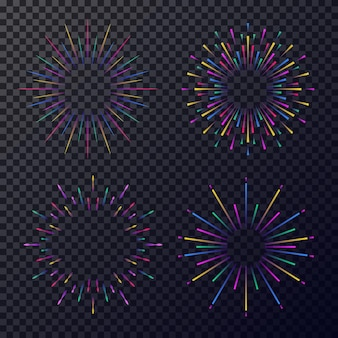 Neon stars set isolated on transparent background