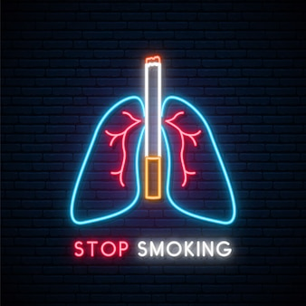 Neon stop smoking signboard.