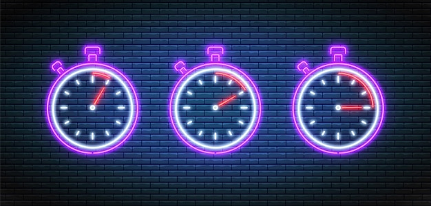 Neon stopwatch. timers with 5, 10 and 15 minutes. countdown timer set. glowing bright clocks.