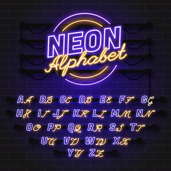 Alfabeto in stile neon Vettore gratuito