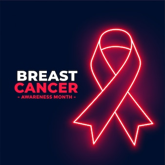 Neon style breast cancer awareness month poster