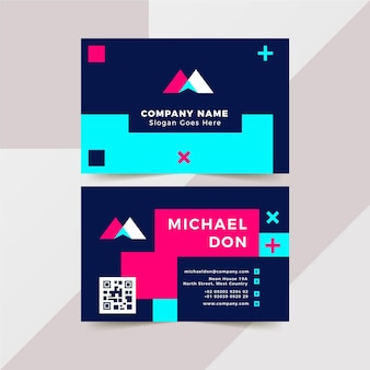 Neon style business cards collection