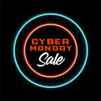 Neon style cyber monday sale banner design