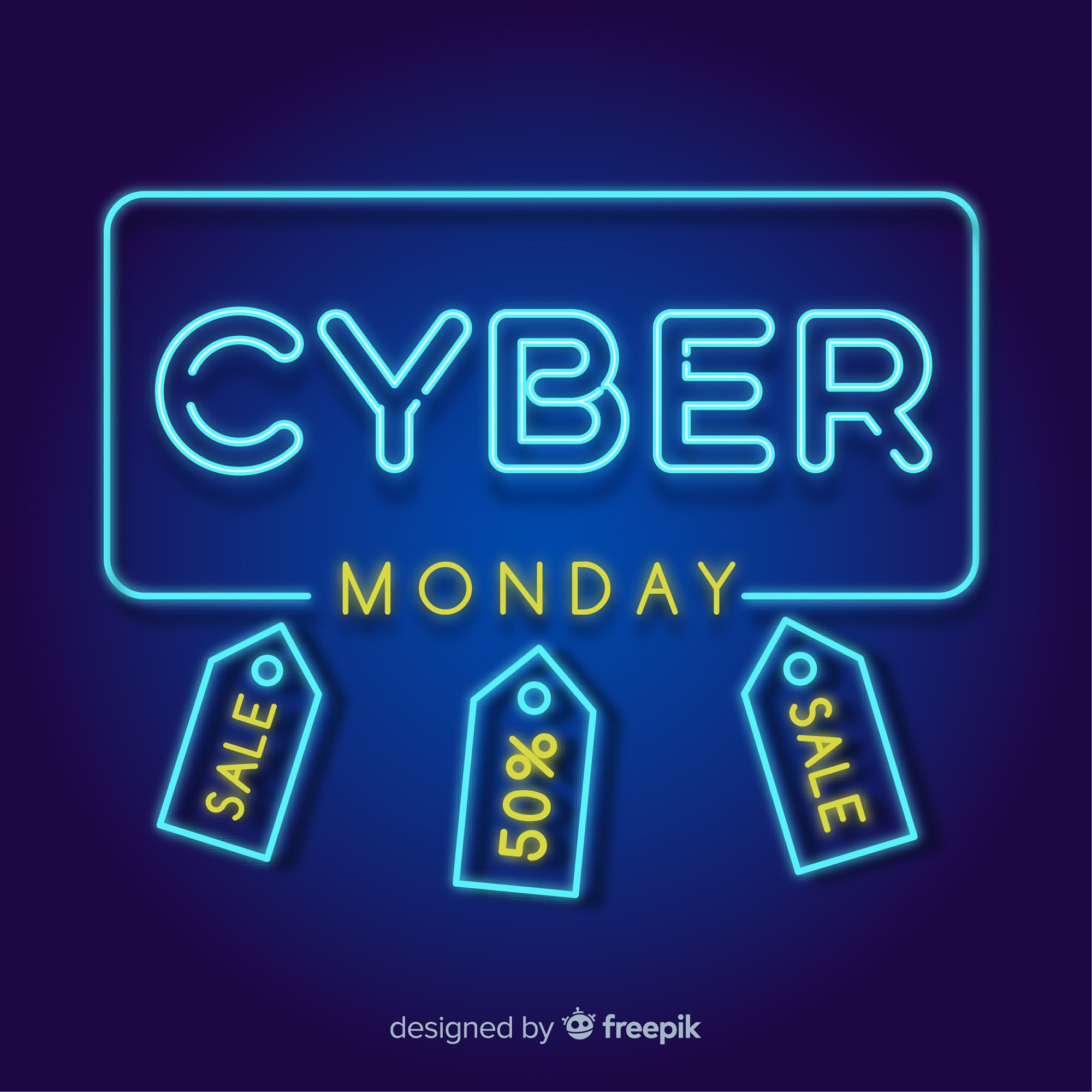 Neon style cyber monday sales background